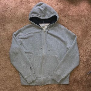 Solid Gray Zip-Up Hooodie
